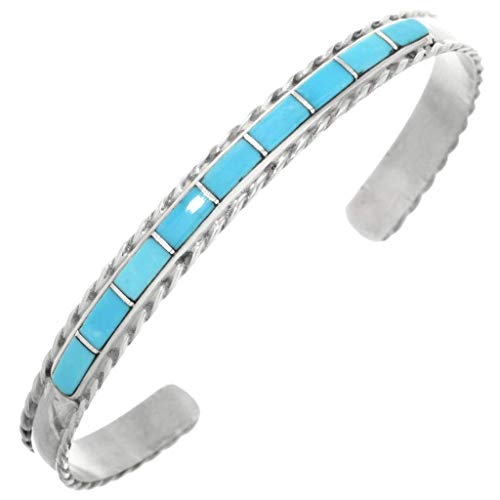 Southwest Inlay - Zuni Turquoise Silver Inlay Bracelet Ladies Cuff by Jessica Chavez 0392