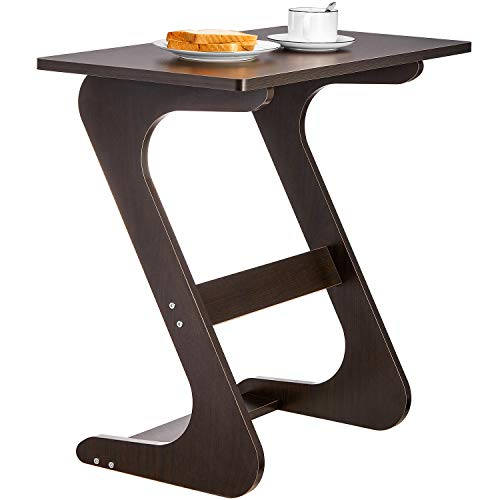 Sofa Table End Table TV Tray Z-Shape Snack Laptop Desk Night Stand Couch Side Table Moveable Stand in Living Room for Eating Working Writing, Walnut, 29.5 x 15.7 x 28.3 in (Tv Trays Unique)
