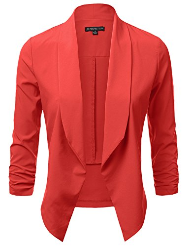 (JJ Perfection Women's Lightweight Chiffon Ruched Sleeve Open-Front Blazer Coral)