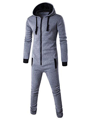 Haseil Men's Onesie Pajama Non Footed Zip Up Adult With Hoodie One Piece Jumpsuit, Light Grey, TagsizeXL=UssizeS