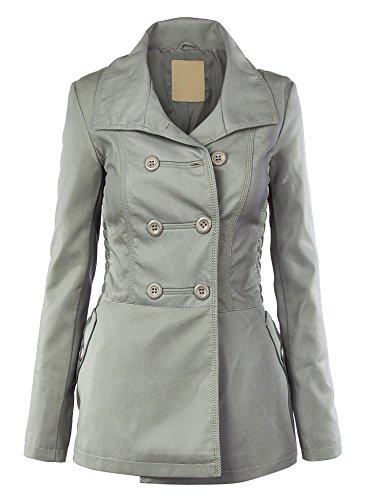 WJC867 Womens Faux Leather Coat L GREY
