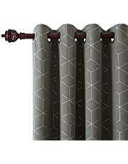 Deconovo Home Decoration Foil Printed Eyelet Blackout Curtains 46x54in,46x72in,46x90in