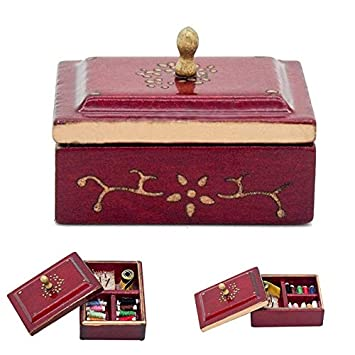 1:12 Miniature Vintage Sewing Box with Lid Winered Dollhouse Decoration Accessor