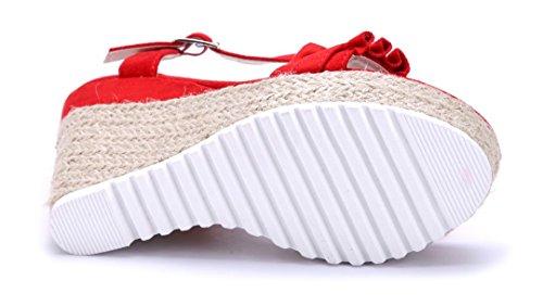 Schuhtempel24 Damen Schuhe Keilsandaletten Sandalen Sandaletten Keilabsatz 11 cm High Heels Rot