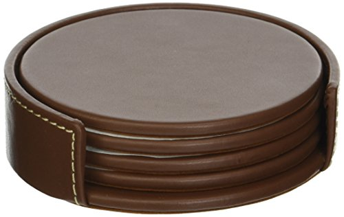 (Dacasso Rustic Brown Leather 4-Round Coaster Set)