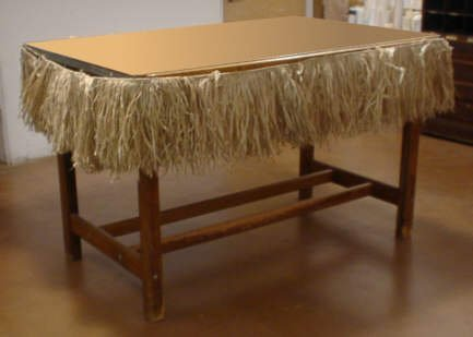 24 Foot Long Tiki Bar Raffia Fringe Skirt - Thatch (1-Pack)