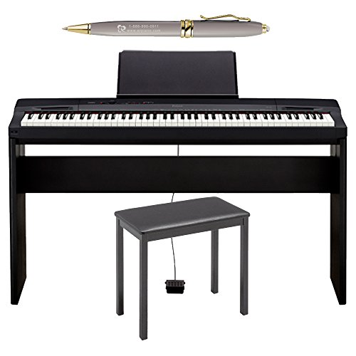 Casio PX160BK 88-Key Touch Sensitive Privia Digital Piano with Tri-Sensor Scaled Hammer Action in Black with Bench, Stand and Generic Luxury Pen in Gold