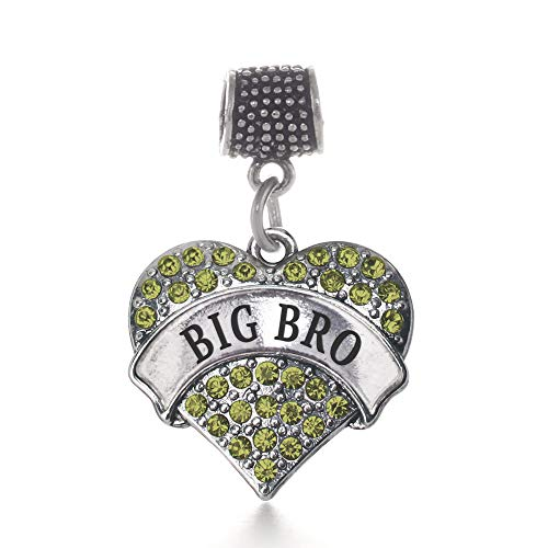 Inspired Silver - Big Bro Green Memory Charm for Women - Silver Pave Heart Charm for Bracelet with Cubic Zirconia Jewelry