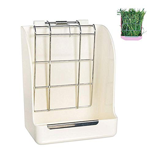 Hay Feeder, Aolvo Hay Rack Manager Container - 100% Non-Toxic, BPA Free, Eco-Friendly - Keeps Grass Clean & Fresh, Less Wasted Hay Food Bin Feeder FOR Rabbit Bunny Guinea Pig Hamster Chinchilla, White