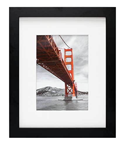 (Frametory, 8x10 Black Picture Frame - Made to Display Pictures 5x7 Photo with Ivory Color Mat - Wide Molding - Preinstalled Wall Mounting Hardware (8x10, Black))