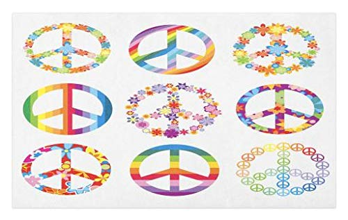 Lunarable Groovy Doormat, Group of Various Peace Symbols Designs Happy Better World Idea Dream Theme Print, Decorative Polyester Floor Mat with Non-Skid Backing, 30 W X 18 L Inches, Multicolor ()