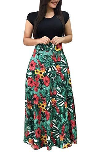 Demetory Women`s Summer Short Sleeve Empire Waist Polka Dot Flowy Long Maxi Dress Green Large