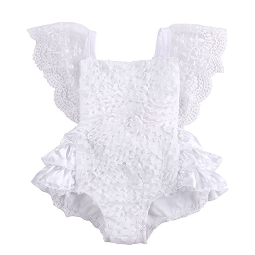 Newborn Baby Girls Lace Floral Cake Bodysuit Romper Jumpsuit Backless Sunsuit Outfits (6-9 Months) White