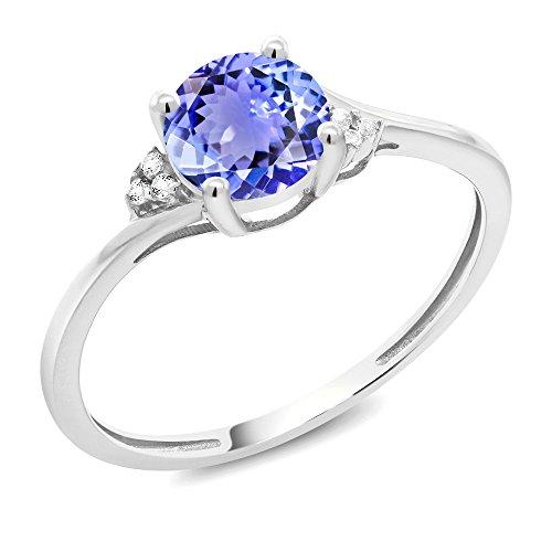 0.94 Ct Round Blue Tanzanite White Diamond 10K White Gold Ring (Size ()