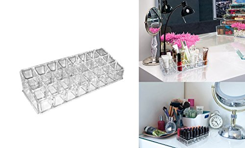 Makeup and Cosmetic Acrylic Organizer Stand 24 Slanted Slots keep your brushes, pencils, gloss or liners, great way to keep them upright and in - Hut Eye Wear