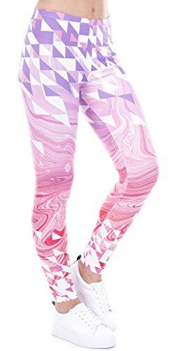 Ndoobiy Printed Leggings Basic Cheap Patterned Leggings Yoga Workout Leggings Women Girls Spandex Leggings L2 (Pink tuxing OS)
