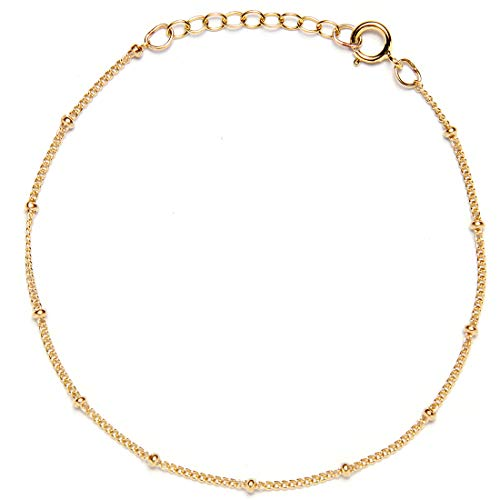(BENIQUE Dainty Bracelet for Women, 925 Sterling Silver, 14K Gold Filled, Rose Gold Filled, Beaded Chain for Layering Stacking, Minimalist Jewelry, Made in USA, 6.5