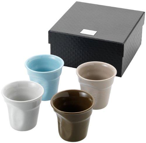 4 Knickbecher Espresso, Espressotasse (ohne Henkel) Espressobecher aus Keramik in 4 Farben und Geschenkbox von noTrash2003