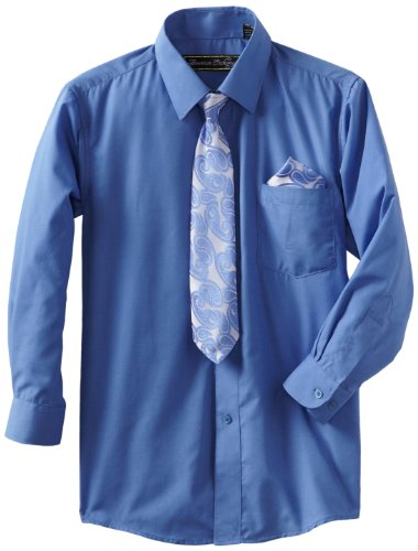 (American Exchange Big Boys' Dress Shirt with Tie and Pocket Square, Royal Blue, 16)