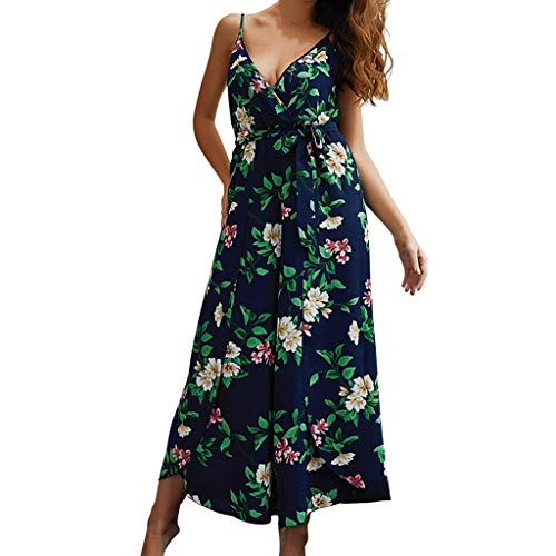 Women's Elegant Sleeveless Spaghetti Strap Deep V-Neck Jumpsuits Floral Plant Print Belted Rompers Split Flowy Lightweight Soft Wide Leg Palazzo Pants Summer Lounge Beach Playsuit ()