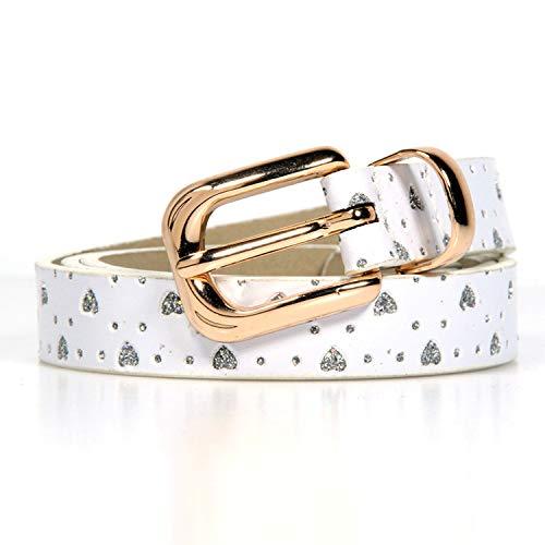 Fashion gift Metal Buckle Love brick printing children boys girls belt Brand PU Leather belts waistband,White,Waist Size 18-22inch by Memoriesed (Image #4)