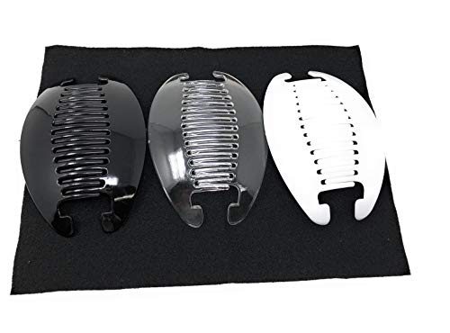 3 set Interlocking Banana Combs Hair Clip French Side Comb Holder (Black-Clear-White)