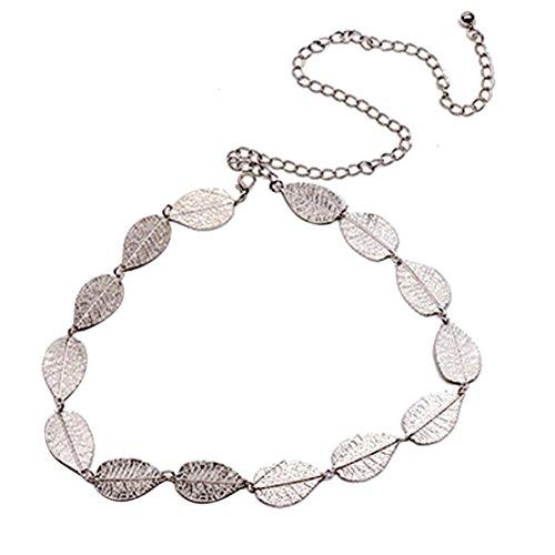 Allywit Women's Lady Fashion Metal Leaves Chain Belt Chain (Silver) - Ladies Metal Chain Belt