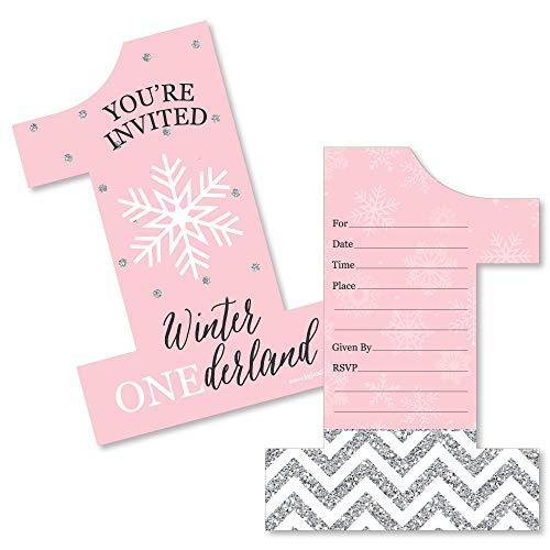 (Pink Onederland - Shaped Fill-in Invitations - Holiday Snowflake Winter Wonderland Birthday Party Invitation Cards with Envelopes - Set of)
