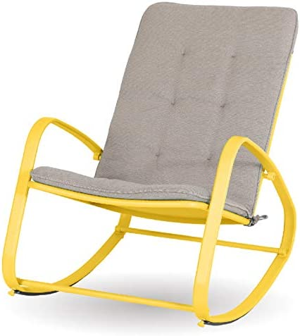 Sophia William Outdoor Patio Rocking Chair Padded Steel Rocker Chairs Support 300lb