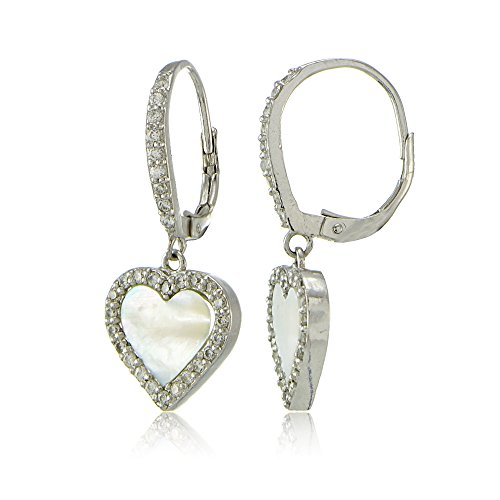 Sterling Silver Mother of Pearl and Cubic Zirconia Heart Dangle Leverback Earrings -