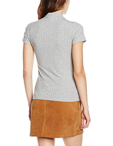 PIECES Pcamy Ss Turtleneck Top Clw, Camiseta para Mujer Gris (Light Grey Melange)