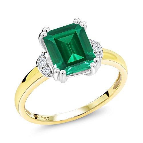 Gem Stone King 2.12Ct Emerald Cut Green Simulated Emerald Diamond Accent 10K 2 Tone Gold Ring (Size 8) 2 Tone Gold Diamond Ring
