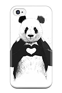 Iphone 4/4s Hard Case With Awesome Look Panda Making Hands Heart