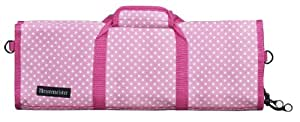 Messermeister 12-Pocket Padded Knife Roll, Pink with White Dots