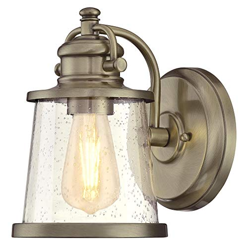 - Westinghouse Lighting 6374500 Emma Jane One-Light Outdoor Wall Lantern, Antique Brass Finish with Clear Seeded Glass Porch Light