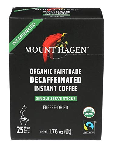 - Mount Hagen Organic Instant Decaffeinated Coffee, 25-Count Single Serve Sticks, 1.76 Oz