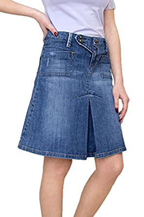New Ladies Casual Boutique Knee Length A-Line Blue Denim Skirt UK ...