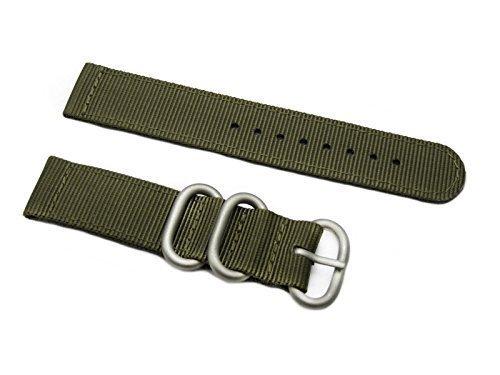 Heavy Matt - HNS ZULUPATH 2 Pieces 20mm Olive Heavy Ballistic Nylon Watch Strap 3 Matt Stainless Steel Ring ZU052