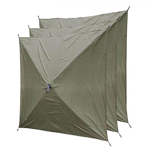 Quick Set 9294 Screen Hub Wind Panels, Tear-Resistant Durable Panels Fire-Retardant Screened Window Sun Rain Wind Protection (3 Pack), Green (Small Clam)