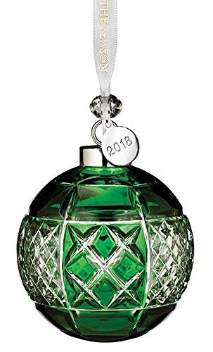 Waterford Emerald Ball Ornament 3.3''