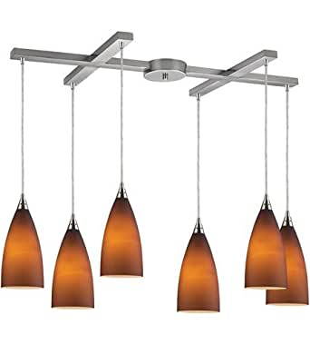 Pendants 6 Light With Satin Nickel Finish Tobacco Glass Medium Base 33 inch 360 Watts - World of Lamp