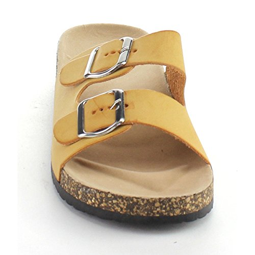 Anne Marie Glory-2 Womens Fashion Buckled Two Strap Slide Sandals Tan