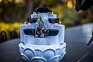 Zen Falls Tabletop Waterfall Multi Tier Plant Succulent Candle Fountain | Handmade | Includes 4 Candles, Glass Container, Water Pump