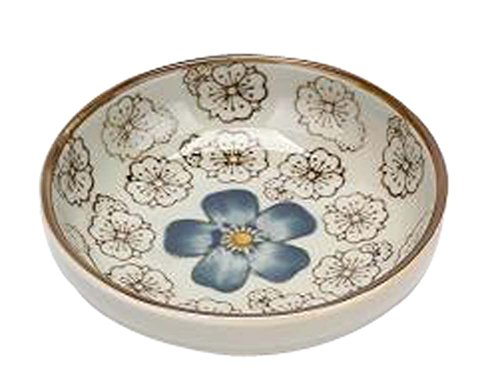 Pattern Cream Soup Bowl (Set Of 4 Zakka Asian Style Round Ceramic Sauce Dishes [Blue Flower])