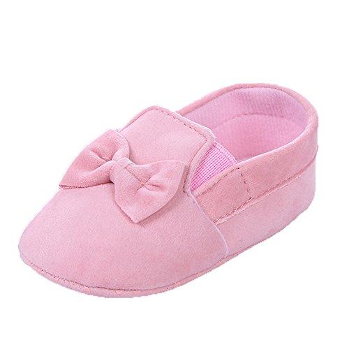 Baby Mädchen Weiche Sohle Bowknot Schwarz Mokassins Größe 0-6 Monate Rosa