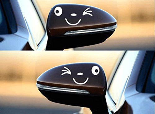 MONOMONO-Smile rearview mirror reflective stickers personalized funny car decals garland - Mall Park Circle