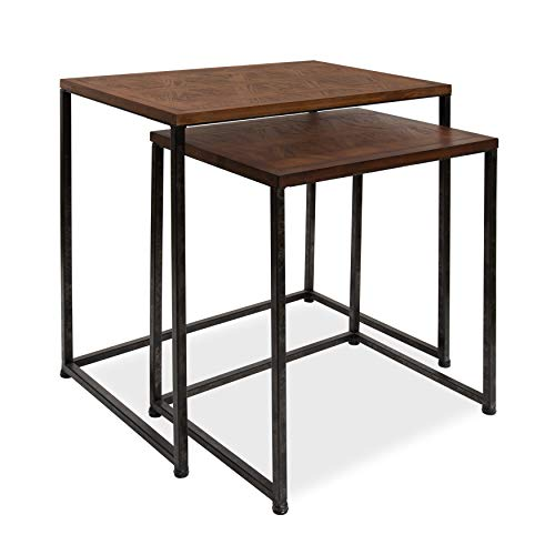 Kate and Laurel Solis Rustic 2-Piece Nesting Side Accent Tables with Geometric Patterned Wooden Tops and Distressed Black Metal Bases, Walnut -