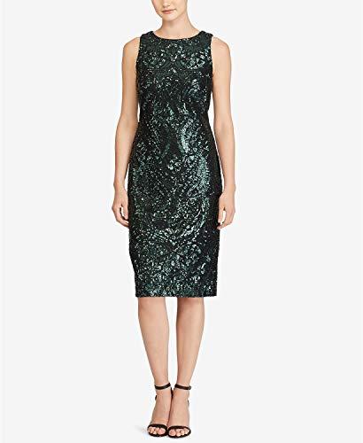 - Lauren Ralph Lauren Women's Sequined Lace Sheath Dress Black/Absinthe Shine Multi 4