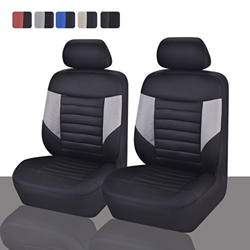 CAR PASS Skyline Sport Sky Black and Gray PU Leather Car Seat Covers, 6 Pieces (Car Seats Covers For Men compare prices)
