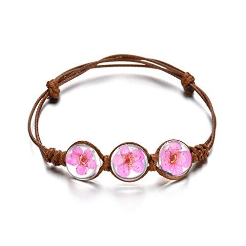 Kofun Bracelet, Handmade Dry Pressed Flower Cherry Blossom Glass Cover Woven Leather Bracelets Rose Red ()
